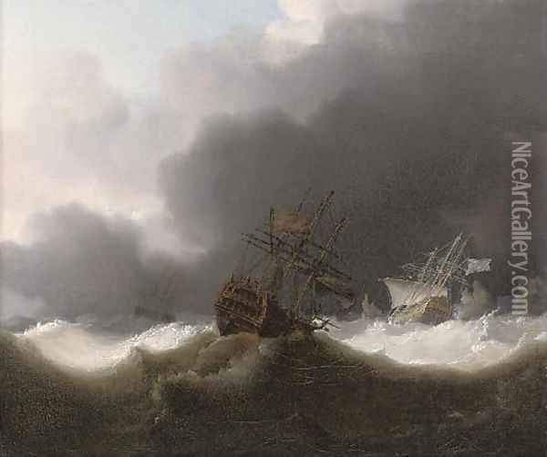 Ships of the Red Squadron reefed down in a gale Oil Painting - Charles Brooking