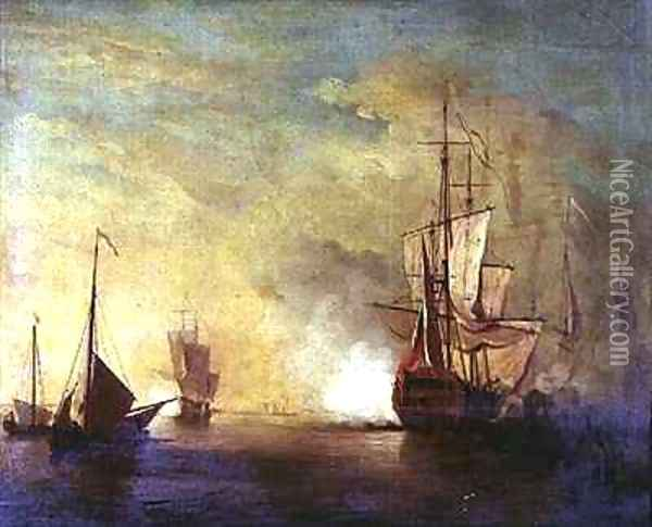 Shipping in a Calm Sea Oil Painting - Charles Brooking