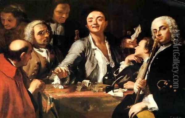 A Musical party- and the poet Oil Painting - Giuseppe Bonito