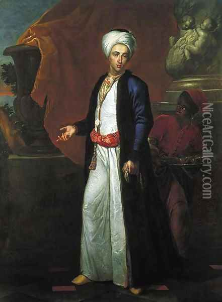 Portrait of a gentleman, full-length, in Ottoman robes, a page beside him, on a terrace before a Solomonic column Oil Painting - Giuseppe Bonito