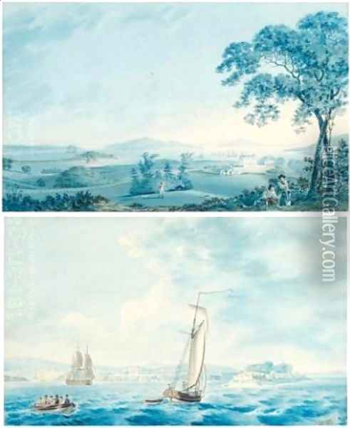 Shipping off Tarbert, Co. Kerry ( Figures in the grounds of Tarbert House, Co. Kerry- pair) 1795 Oil Painting - Joseph Charles Barrow