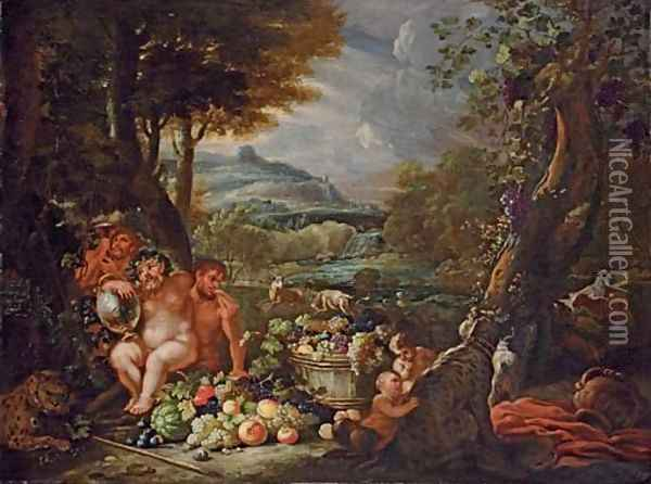 Silenus, with centaurs, leopards and a barrel of fruit in an extensive river landscape Oil Painting - Abraham Brueghel