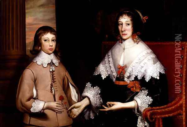 Portrait Of A Lady And Her Son Oil Painting - Edward Bower