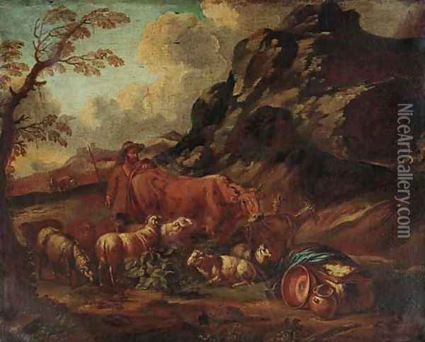 A mountainous landscape with a herdsman in the foreground Oil Painting - Domenico Brandi