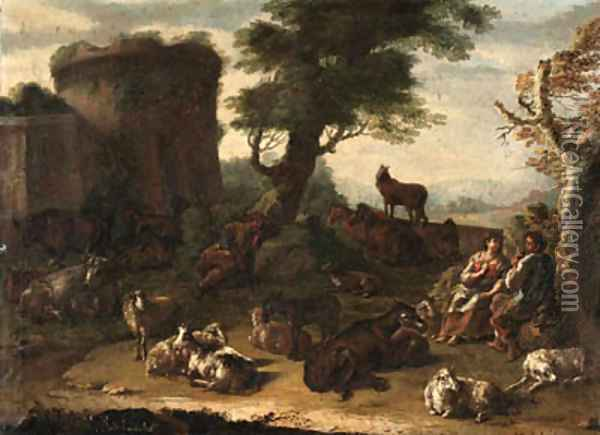 Cows, sheep, and other farm animals resting in a landscape, with a courting couple and a sleeping shepherd, a ruin beyond Oil Painting - Domenico Brandi