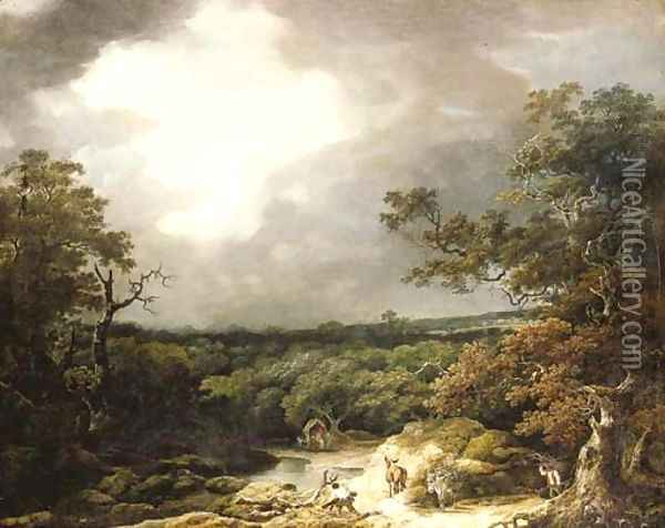 A stormy wooded landscape with faggot gatherers by a river Oil Painting - Thomas Barker of Bath