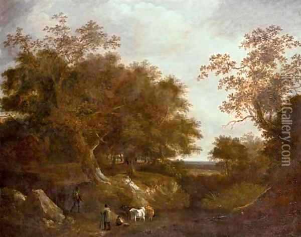 Travelers on a path with cattle watering at a pool in a wooded landscape Oil Painting - Thomas Barker of Bath