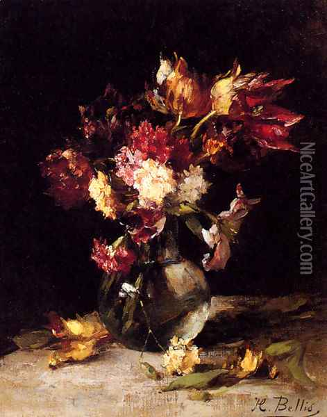 Still Life Of Tulips And Carnations In A Vase Oil Painting - Hubert Bellis