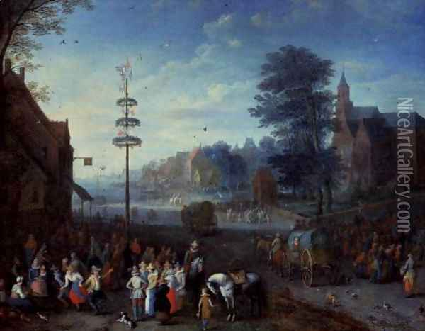 Village kermesse with villagers dancing round a maypole and travellers on a road Oil Painting - Joseph van Bredael