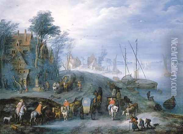 A river landscape with travellers in carriages on a path, shipping beyond Oil Painting - Joseph van Bredael