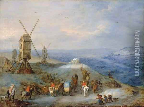 An extensive open landscape with travellers on a path by a windmill Oil Painting - Joseph van Bredael