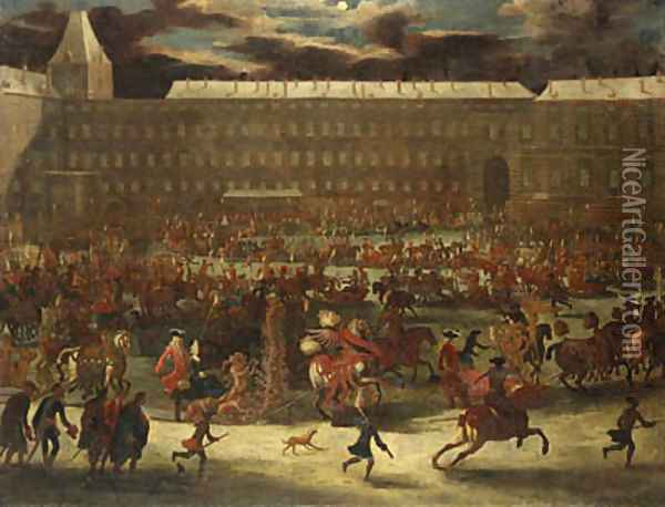 A Sledge Carousel in the Courtyard of the Hofburg, Vienna in the reign of Leopold I Oil Painting - Joseph van Bredael