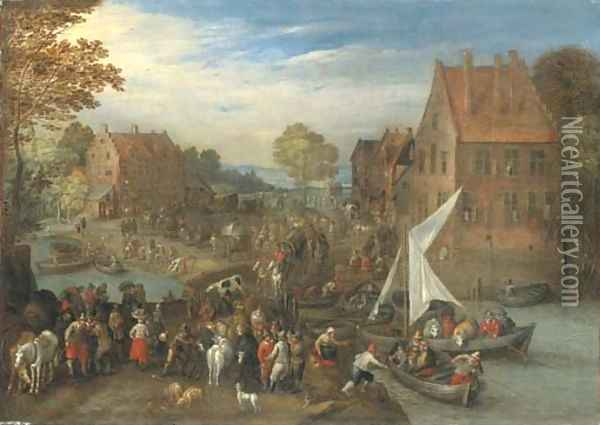 A crowded village landscape with wagons on a path and ferries crossing a river Oil Painting - Joseph van Bredael