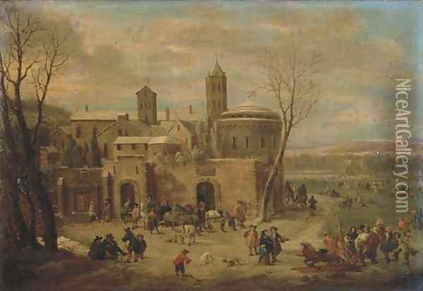 A winter landscape with figures strolling and unloading a cart outside the walls of a town, skating and sleighing on a frozen river nearby Oil Painting - Pieter Bout
