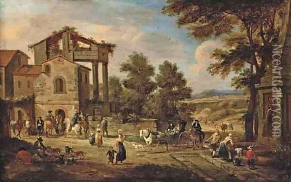 The outskirts of a town with a washerwoman, travellers and resting labourers, a landscape beyond Oil Painting - Pieter Bout
