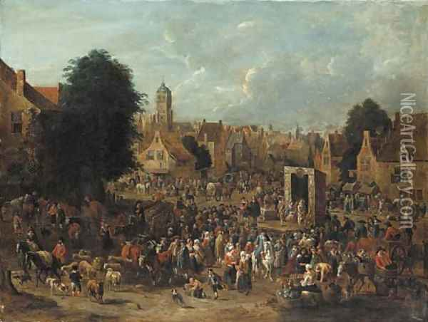 A town square with actors from the Commedia dell'Arte performing for villagers on market day Oil Painting - Pieter Bout