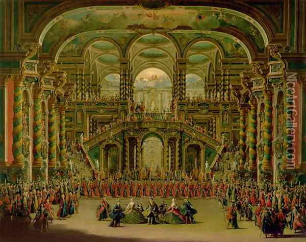 A Dance in a Baroque Rococo Palace Oil Painting - Francesco Battaglioli
