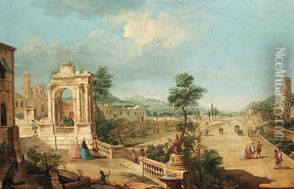 A capriccio view of a town with elegant figures on a terrace by a ruined archway Oil Painting - Francesco Battaglioli