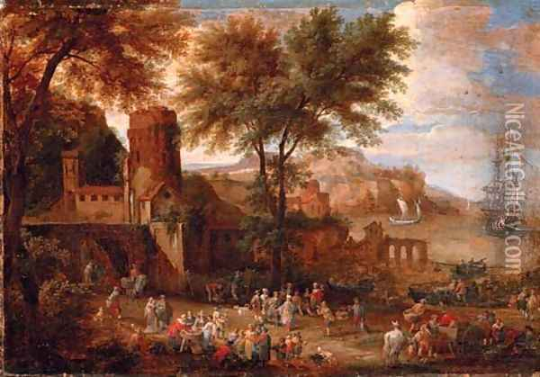 Figures outside a town wall with a bay beyond Oil Painting - Adriaen Frans Boudewijns