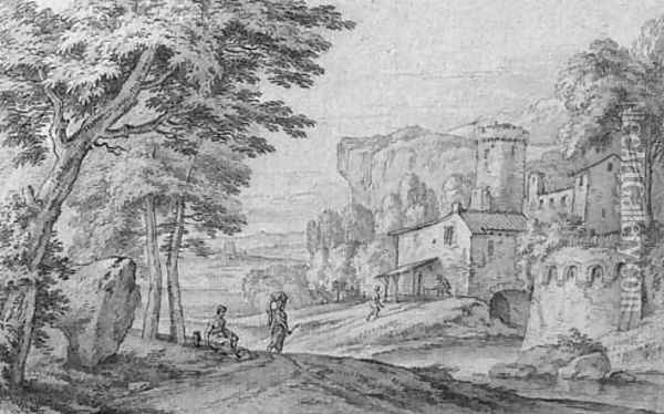 An Italianate river landscape with travellers on a road near a fortified town Oil Painting - Adriaen Frans Boudewijns