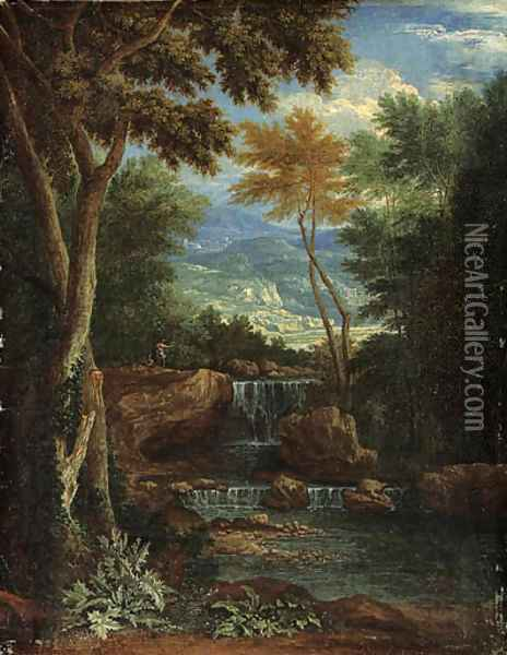 An Italianate wooded Landscape with Figures by a Waterfall Oil Painting - Adriaen Frans Boudewijns