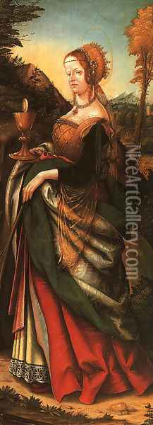 St. Barbara 1518 Oil Painting - Hans Burgkmair the elder
