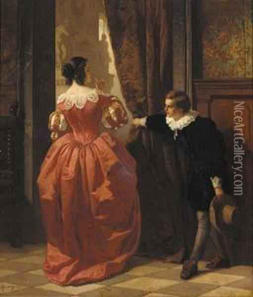 Behind The Curtain Oil Painting - Carl Ludwig Friedrich Becker