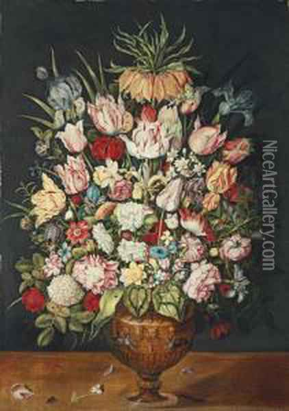 Tulips, Roses, A Chrysanthemum And Other Flowers In A Sculpted Bronze Urn Oil Painting - Osias, the Elder Beert