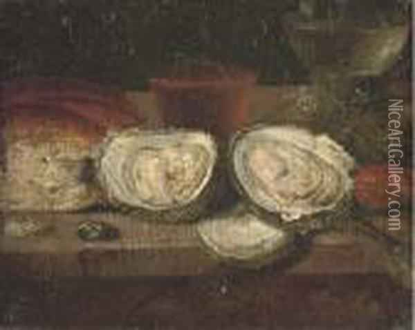 A Loaf Of Bread, Oysters, A Roemer Of Wine Oil Painting - Osias, the Elder Beert