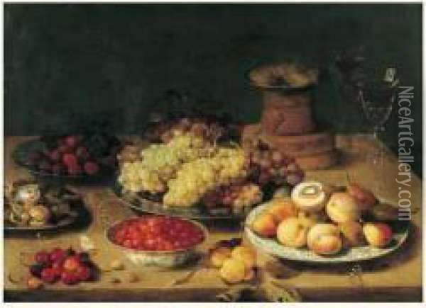 Nature Morte Aux Plats De Fruits Et Verres De Vin Sur Un Entablement Oil Painting - Osias, the Elder Beert