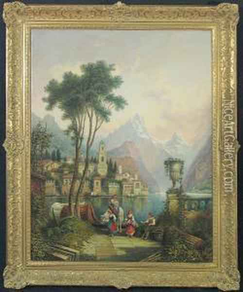 Peasants By Lake Orta Oil Painting - Giovanni Bellini