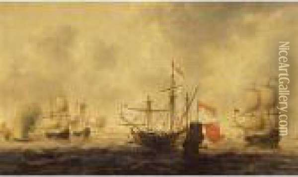 The Dutch Attack On The Medway Oil Painting - Jacob Adriaensz. Bellevois