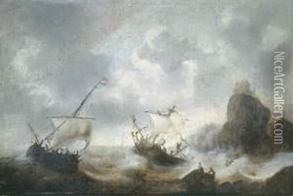 A Coastal Landscape With Frigates Off The Coast In A Storm Oil Painting - Jacob Adriaensz. Bellevois