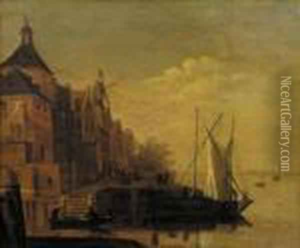 A Town By A River With Sailing Vessels Moored At A Quay, At Dusk Oil Painting - Jacob Adriaensz. Bellevois