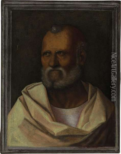 A Male Saint Oil Painting - Giovanni Bellini