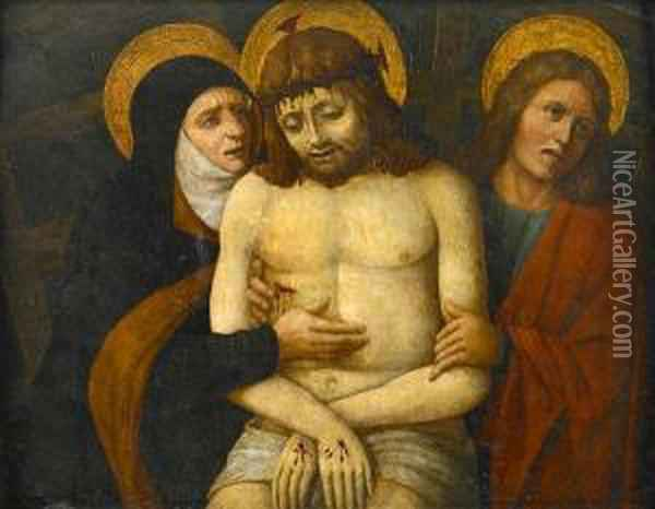 The Dead Christ Supported By Mary And Saint John The Evangelist Oil Painting - Giovanni Bellini