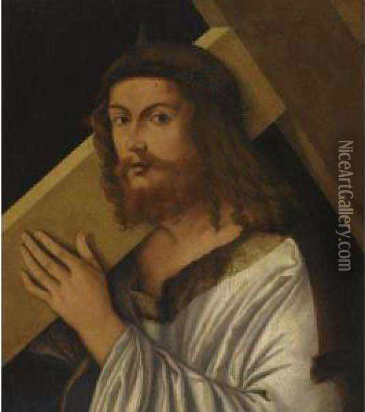 Christ Carrying The Cross Oil Painting - Giovanni Bellini