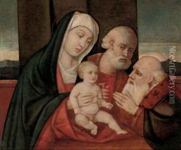 The Holy Family With A Male Saint Oil Painting - Giovanni Bellini