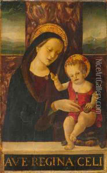 The Madonna Enthroned With The Infant Jesus Before A Landscape. Oil Painting - Giovanni Bellini