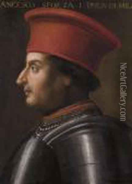 Portrait De Francesco Sforza Oil Painting - Giovanni Bellini