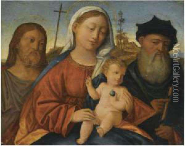 The Madonna And Child With Saint John The Baptist And Another Malesaint Oil Painting - Giovanni Bellini