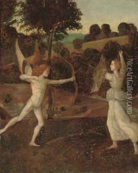 Cupid And Psyche Oil Painting - Giovanni Bellini