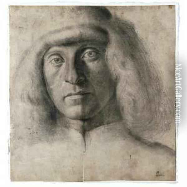 Head And Shoulders Portrait Of A Young Man Oil Painting - Giovanni Bellini