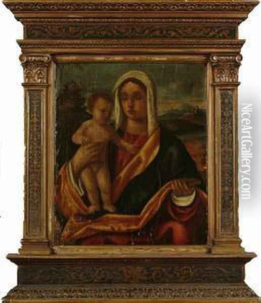 The Madonna And Child In A Landscape Oil Painting - Giovanni Bellini