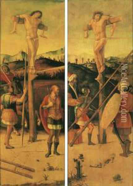 The Two Crucified Thieves Oil Painting - Giovanni Bellini