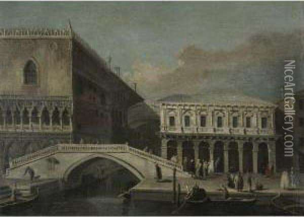 Venice, A View Of The Bridge Of Sighs And The Palazzo Ducale Oil Painting - Bernardo Bellotto