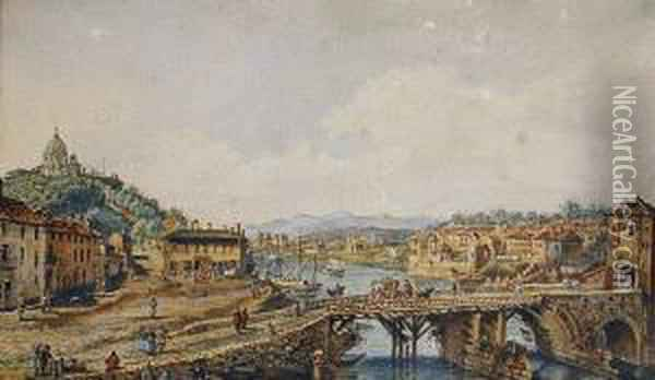 Turin, With The Palazzo Reale; And The Old Bridge Over The River Po, Turin Oil Painting - Bernardo Bellotto