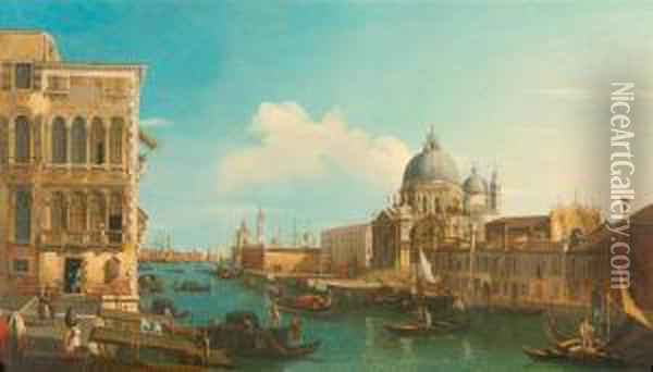 View Of The Grand Canal In Venice With Santa Maria Della Salute On The Right. Oil Painting - Bernardo Bellotto
