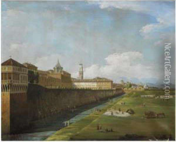 Turin, A View Of The Palazzo Reale Oil Painting - Bernardo Bellotto