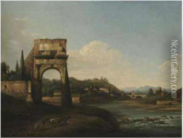 A River Landscape With A Ruined  Classical Arch And A Herder And Hiscattle In The Foreground Oil Painting - Bernardo Bellotto